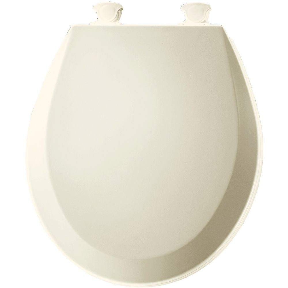 Bemis Round Wood Seat In White Bone Or Biscuit Linen