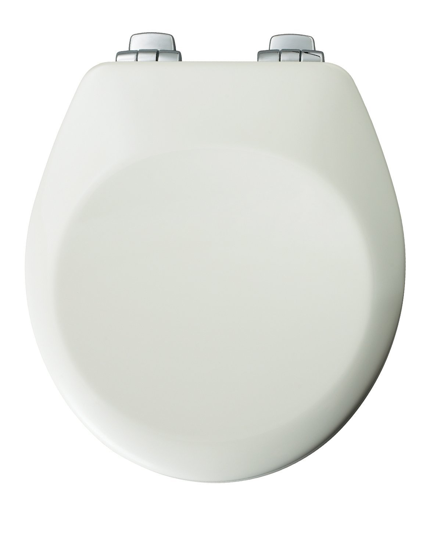 Bemis 652CHSL White Round Toilet Seat With Chrome Hinge Locke Plumbing