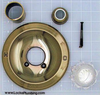 Trim kit for delta faucet 600 series in antique brass Delta antique brass bathroom faucets