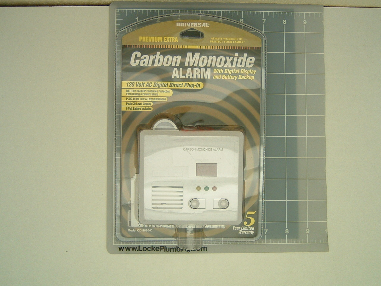 universal premium extra carbon monoxide alarm 120 vac direct plug in locke plumbing. Black Bedroom Furniture Sets. Home Design Ideas