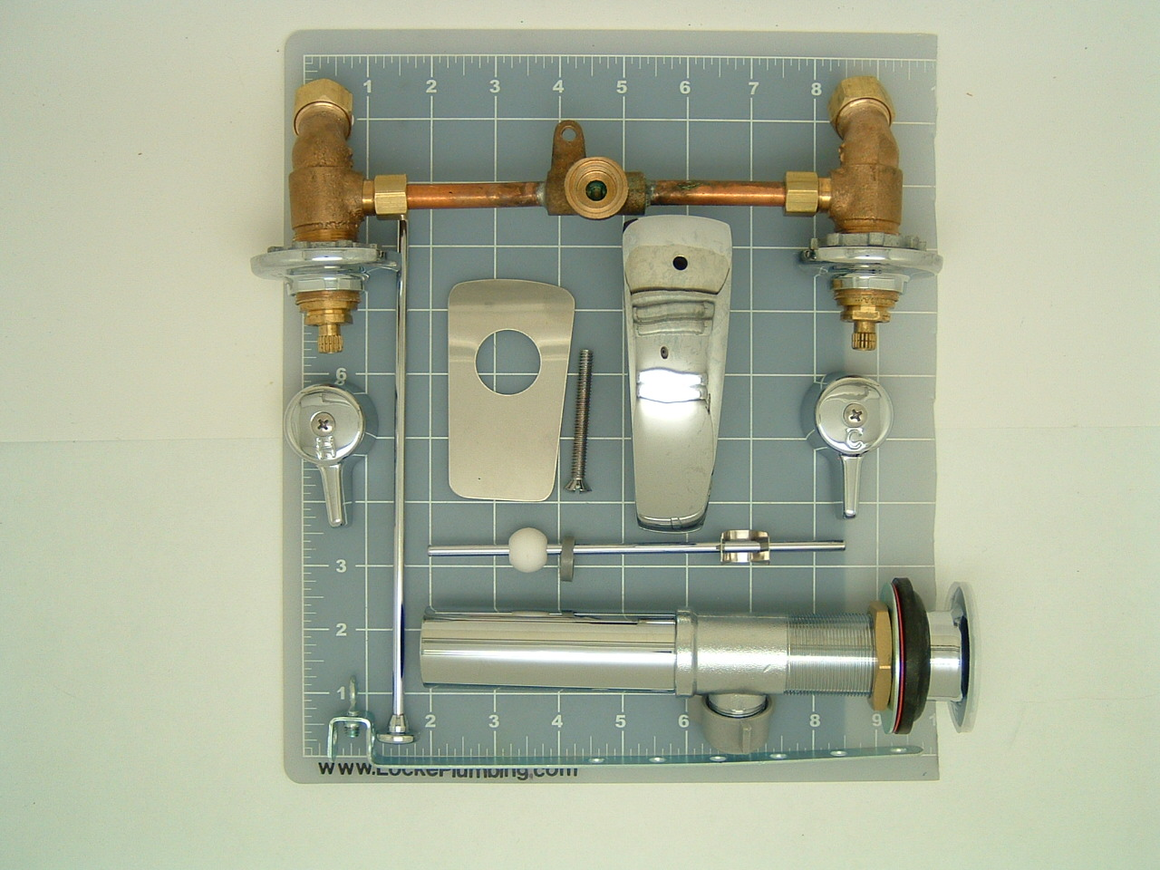 Nice Union Brass 172 Faucet Slantback 45 Degree With Adjustable Centers 4 8  Inches With Pop Up Assembly   Locke Plumbing
