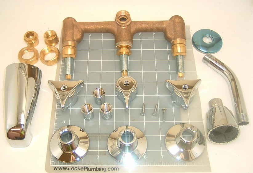 nickbarronco 100 Triple Handle Tub And Shower Faucet
