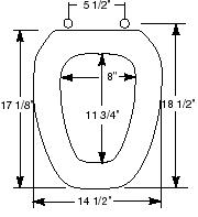 toilet seat measurements  Standard Elongated Eljer Emblem Toilet Seat Size Guide. Eljer Emblem Toilet Seat. Home Design Ideas